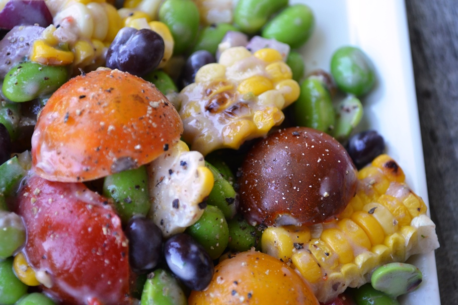 Roasted Corn, Tomato & Edamame Salad with Southwestern Buttermilk Ranch Dressing
