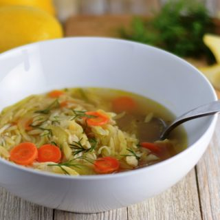 Chicken, Leek & Orzo Soup with Lemon
